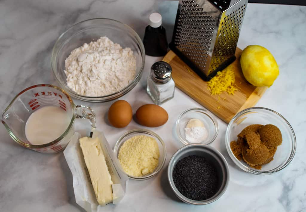 gluten free lemon poppy seed muffin ingredients