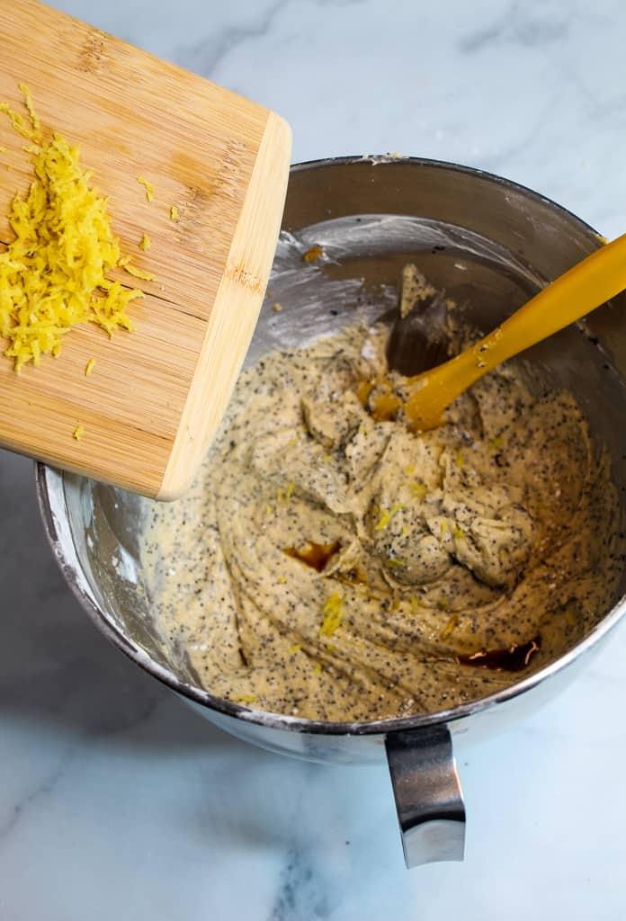 gluten free lemon poppy seed muffins batter in a bowl