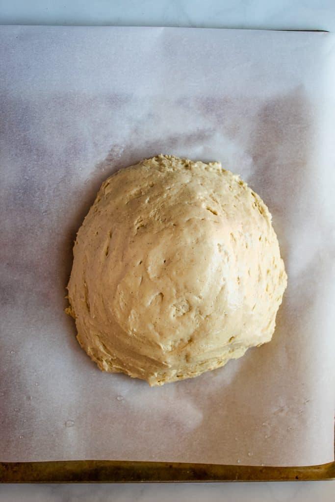 gluten free artisan bread dough smooth top.