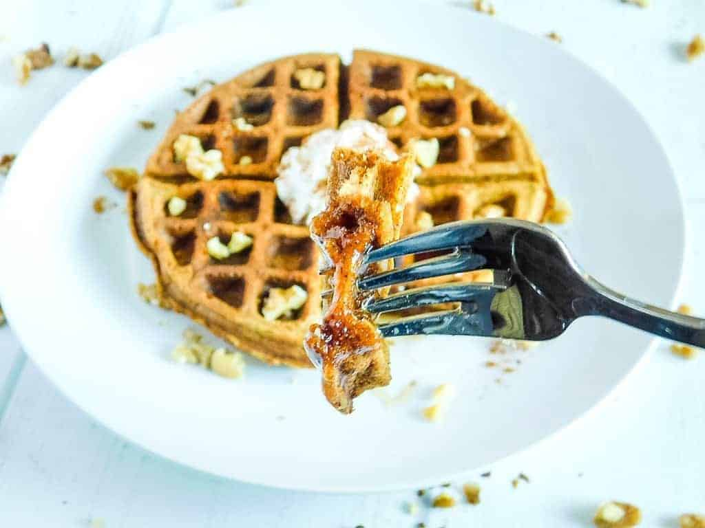 up close look of a bite of a waffle