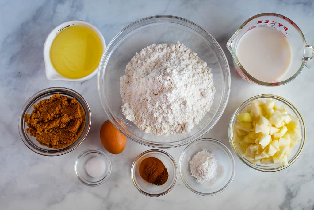 gluten free apple muffins ingredients on the counter