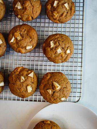 gluten free apple muffins on a wire rack
