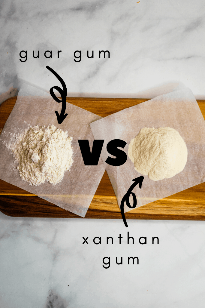 guar gum and xanthan gum on a cutting board