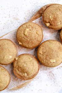 apple quinoa muffins baked sitting on a serving plate