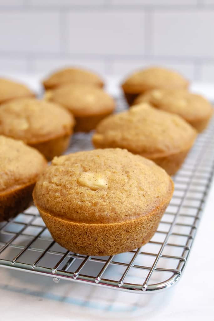apple quinoa muffins baked on a wire rack