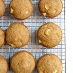 apple quinoa muffins on a wire baking rack