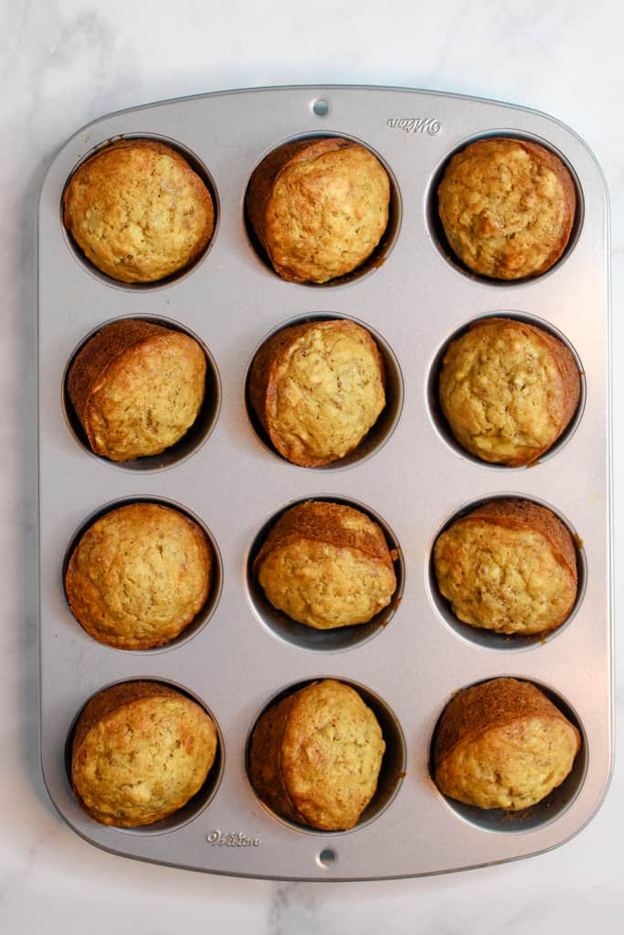 gluten free banana muffins in baking pan