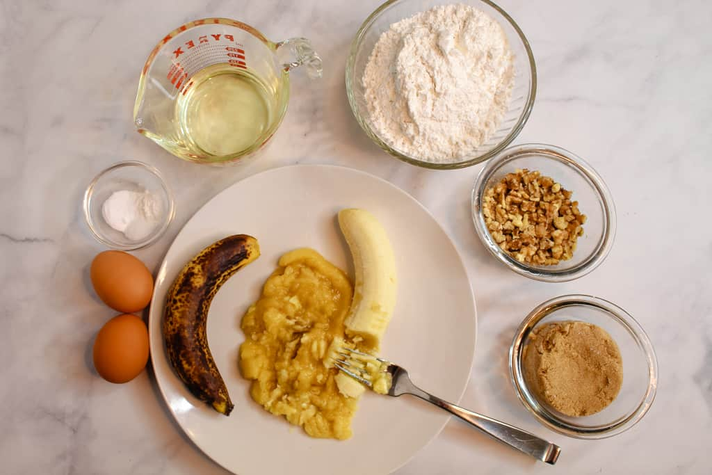 gluten free banana muffins ingredients on the counter