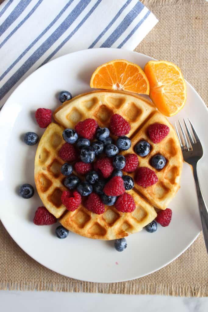 gluten free Belgian waffles on a white plate