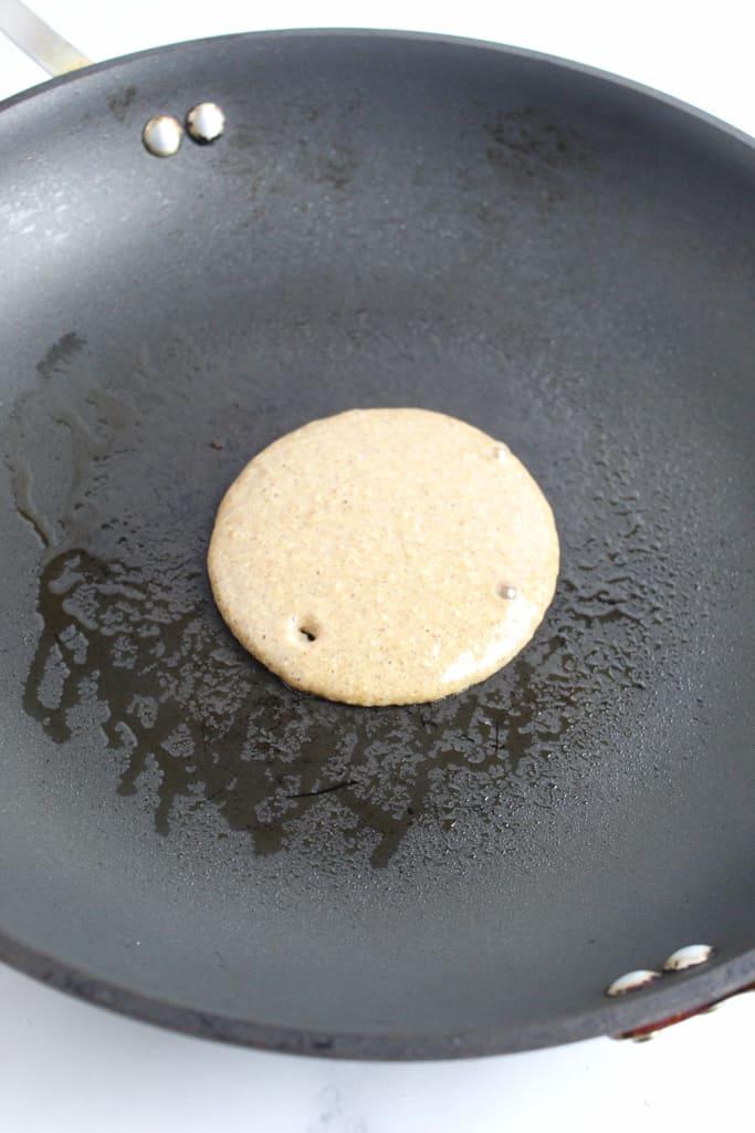overhead shot of pancake cooking