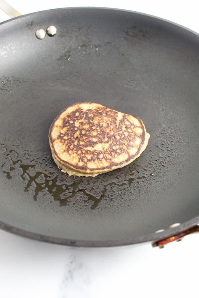 side shot of flipped pancake