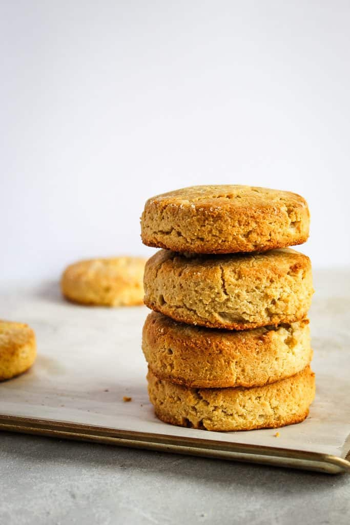stack of almond flour biscuits grain free and low carb