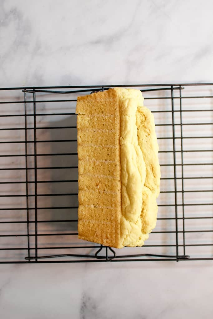 gluten free yeast free bread cooling on a wire rack