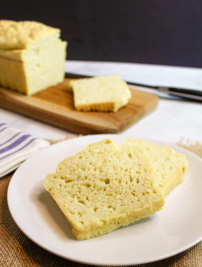 gluten free yeast free bread slices on a plate