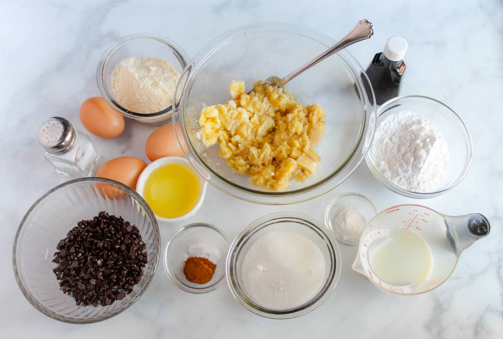 gluten free chocolate chip banana bread ingredients on a counter