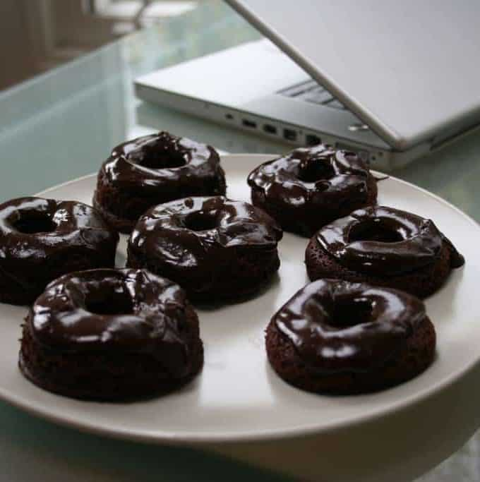 gluten free chocolate donuts with chocolate glaze