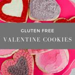 gluten free Valentine cookies on a pink stand