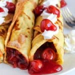 gluten free crepes filled with cherry pie filling
