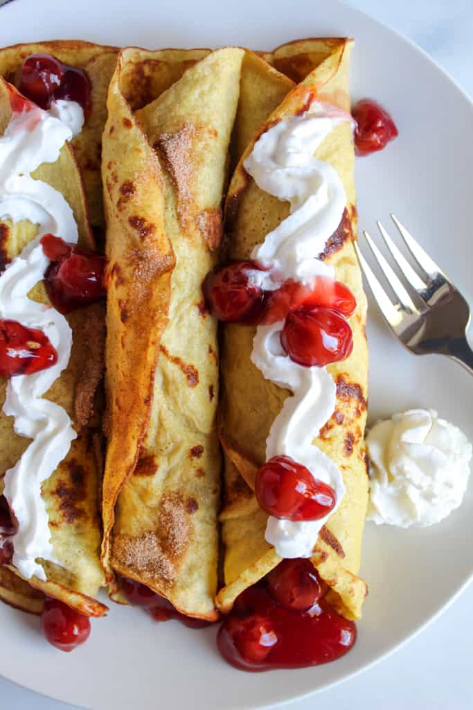 gluten free crepes with cherry pie filling