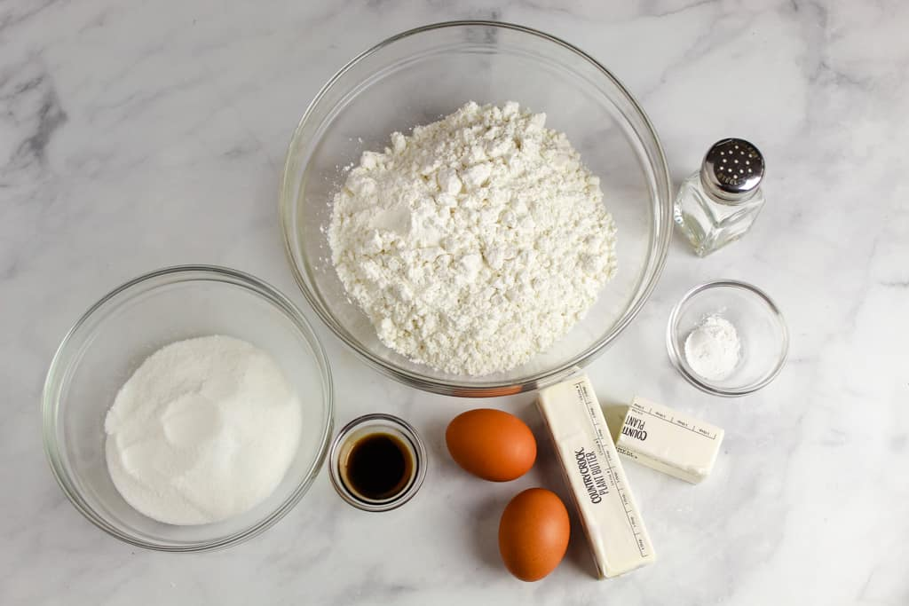 overhead shot of ingredients sitting on a counter