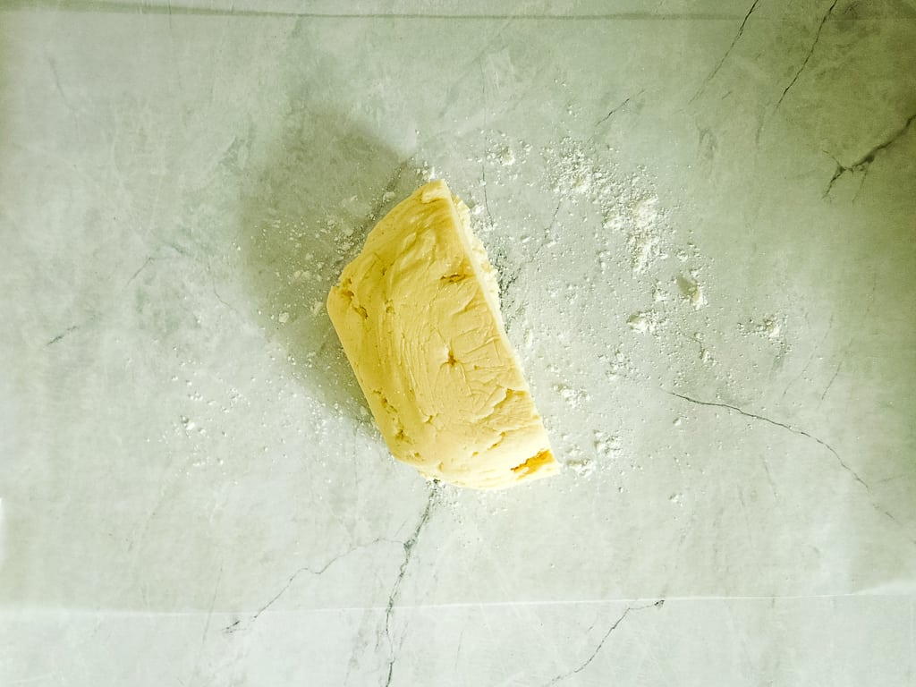 shot of half of dough on a counter