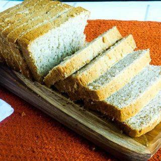 vegan sandwich bread sliced loaf on a cutting board