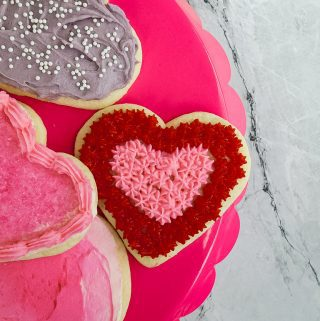 Valentine cookies on a pink platter