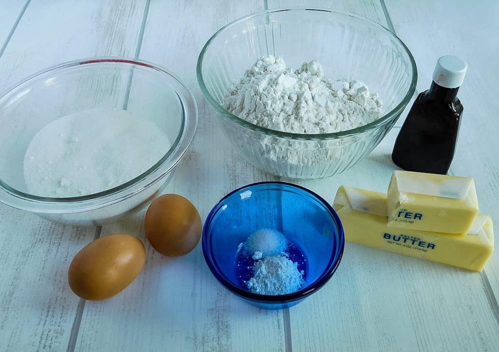 ingredients for cookies on a white board
