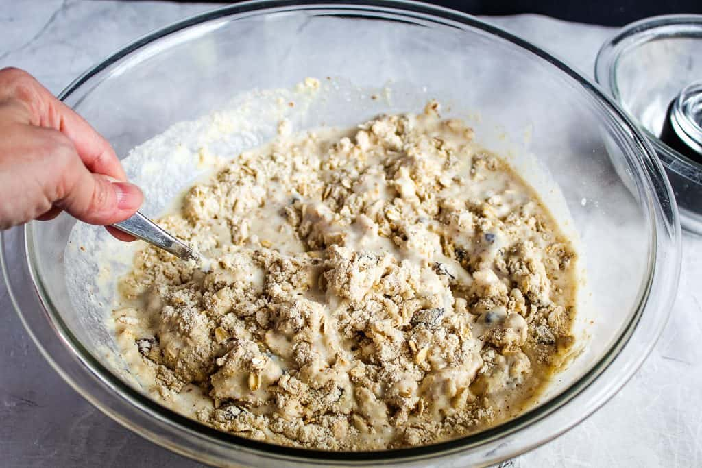 clear glass bowl of gluten free irish soda bread batter mixed