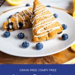 gluten free lemon blueberry scones on a white plate