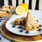gluten free lemon blueberry scones on a white plate
