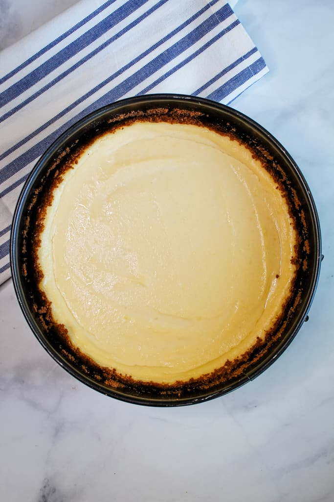 gluten free dairy free cheesecake sitting in a pan on the counter