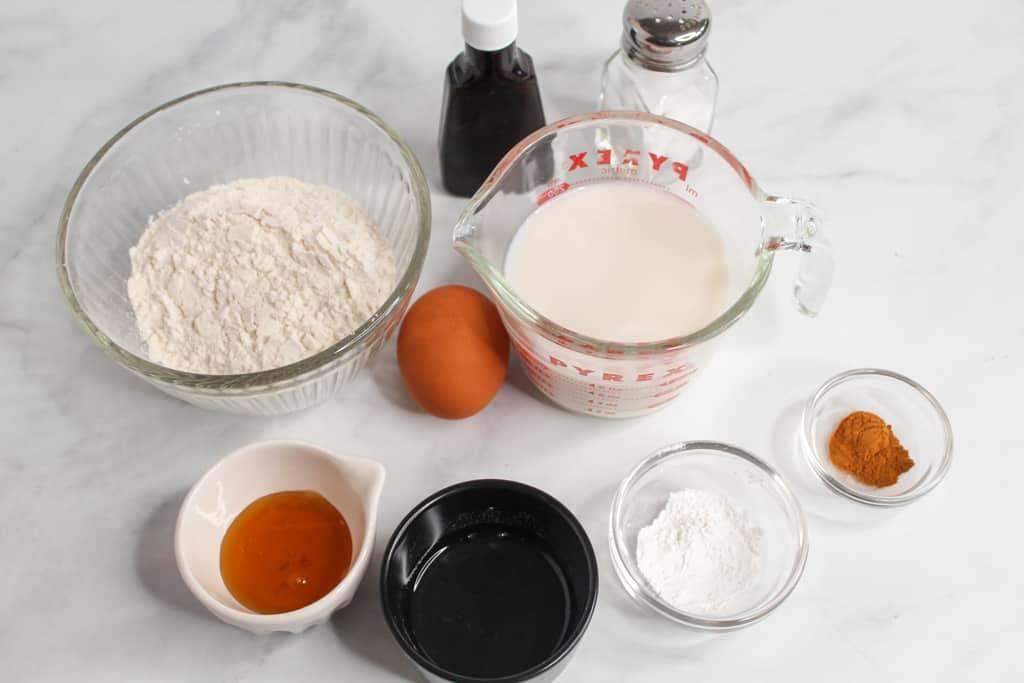 rice flour pancakes ingredients on a white counter