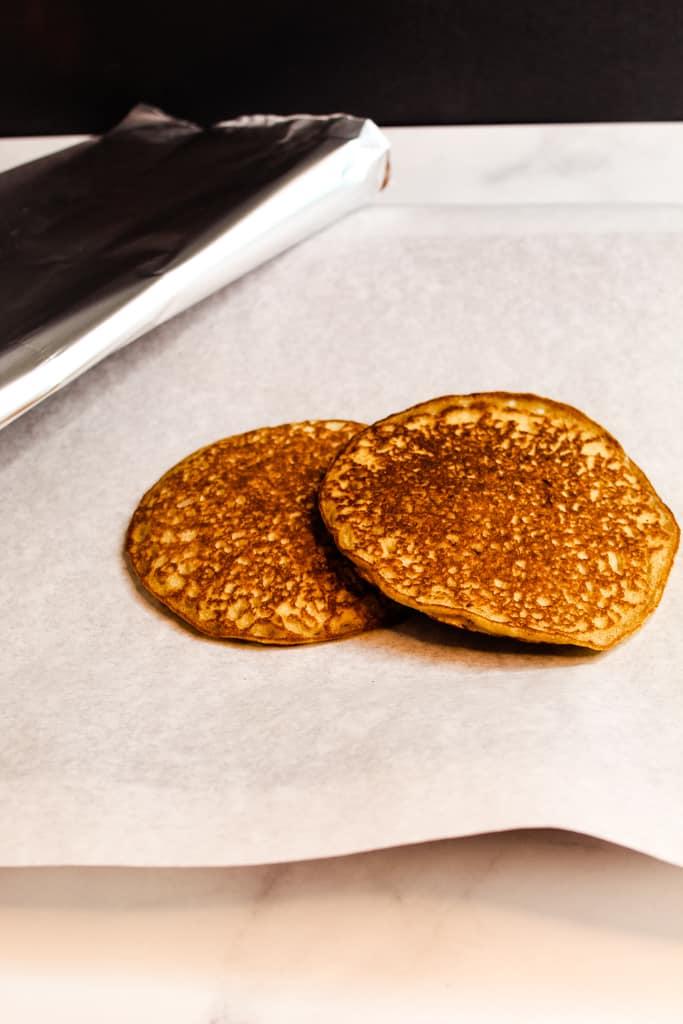 rice flour pancakes on a cookie sheet