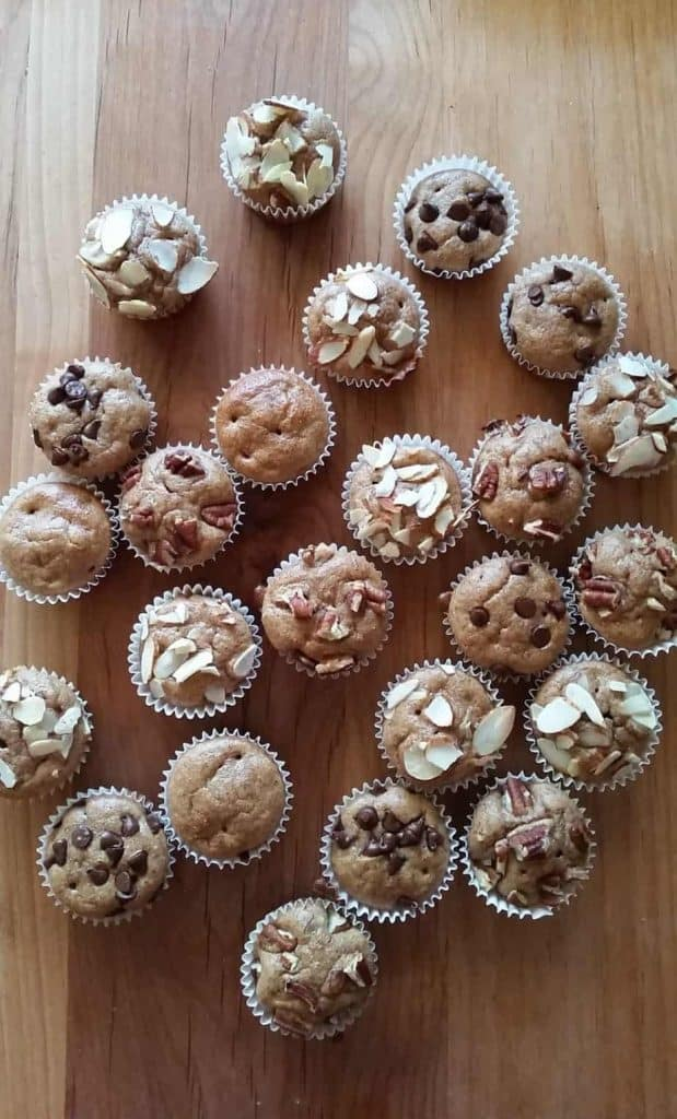 Easy Gluten Free Mini flourless Muffins on a countertop.
