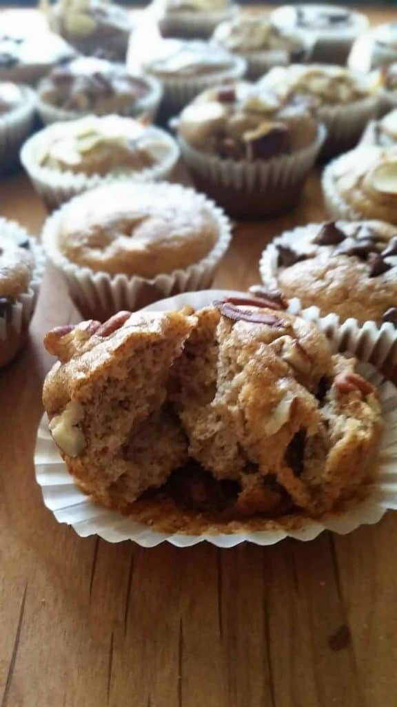Pecan topped blender gluten Free Mini flourless Muffins.