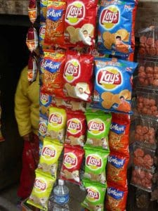 Frito Lays Chips Hanging in Rows at gas station, several GF options.