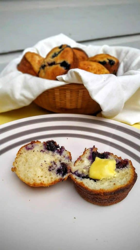 gluten free blueberry banana muffins ready to eat