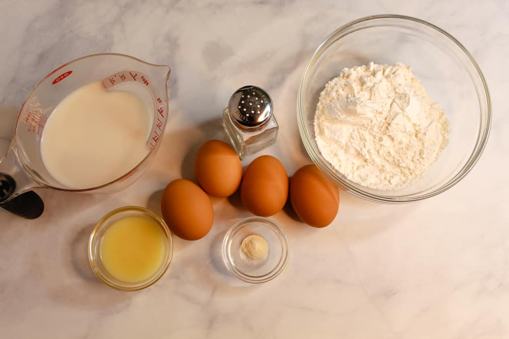 gluten free popovers ingredients on a counter