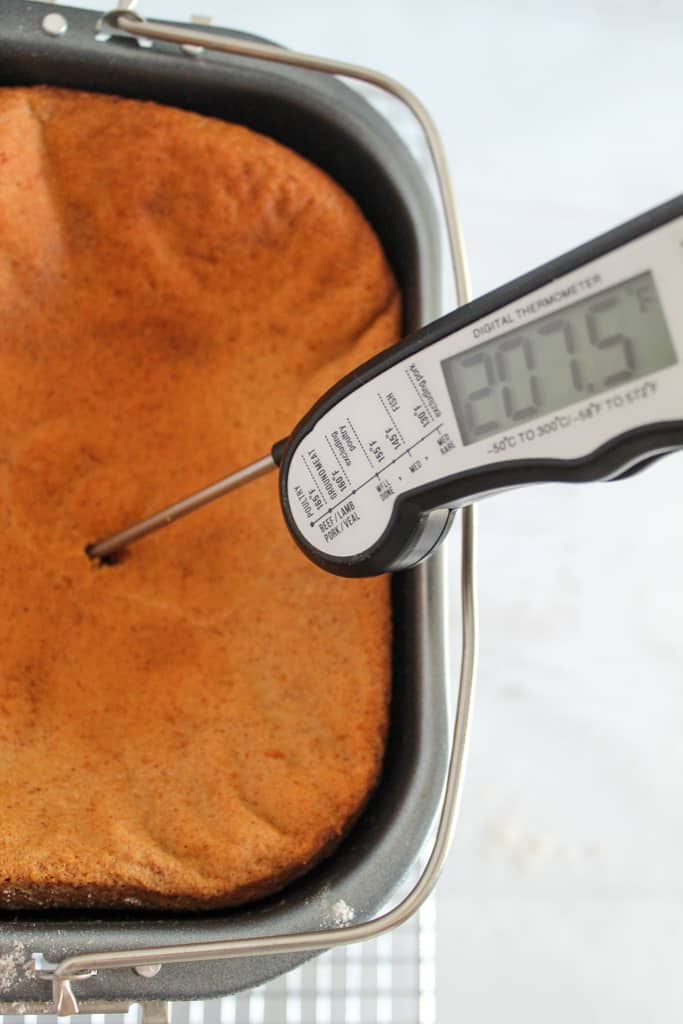 instant read thermometer showing 207 F