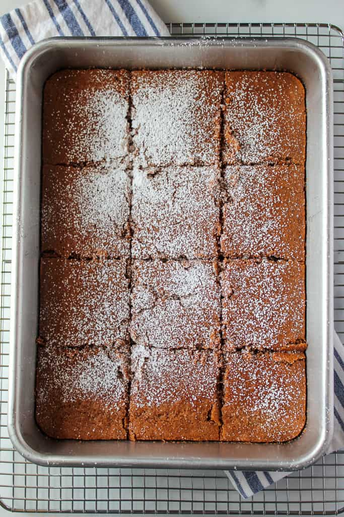 gluten free gingerbread in a baking pan