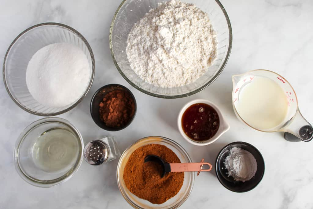 gluten free gingerbread ingredients on a white counter