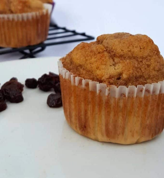 Gluten Free Cinnamon Raisin Muffins with a Nutty Streusel Topping
