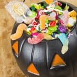 black bucket of gluten free halloween candy