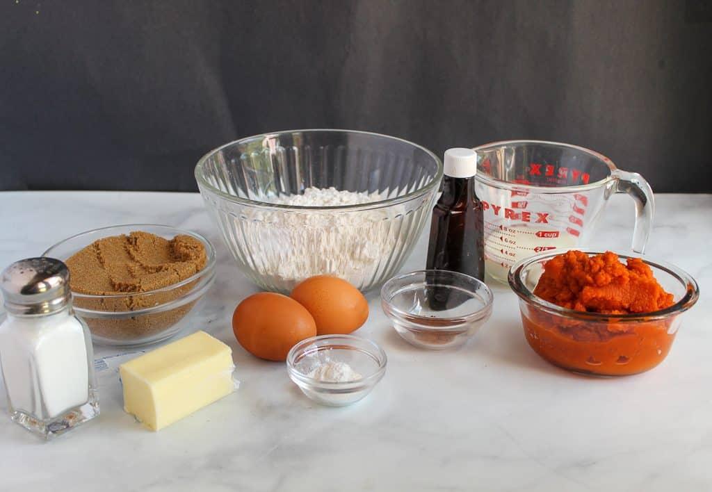 gluten free pumpkin bread ingredients on a countertop.