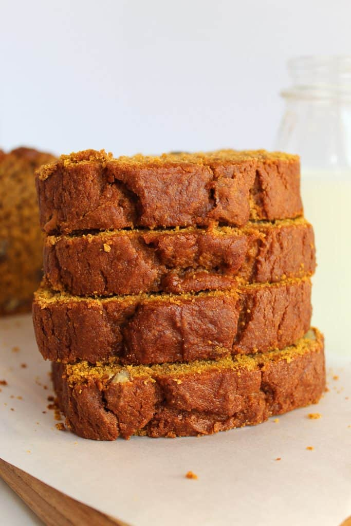 gluten free pumpkin bread stacked high.