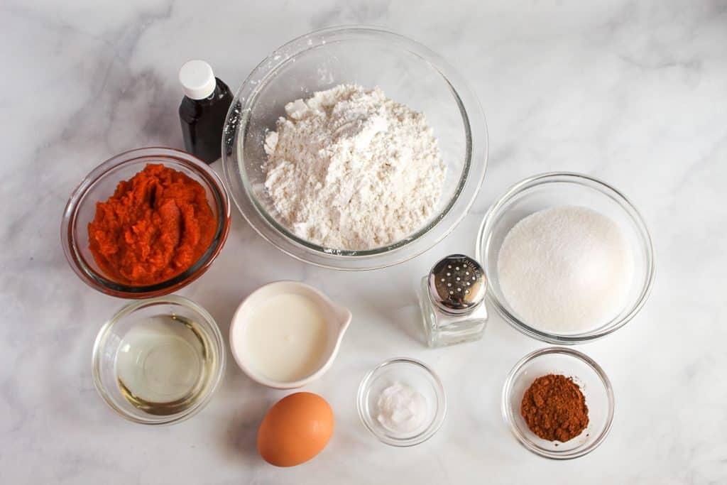gluten free pumpkin muffins ingredients on a countertop.