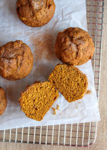 Gluten free pumpkin muffins on a wire cooling rack.