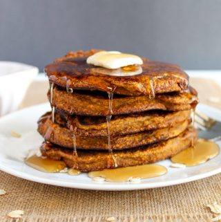 stack of glutn free pumpkin pancakes on a plate