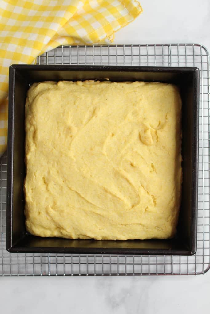 gluten free cornbread baked in a pan